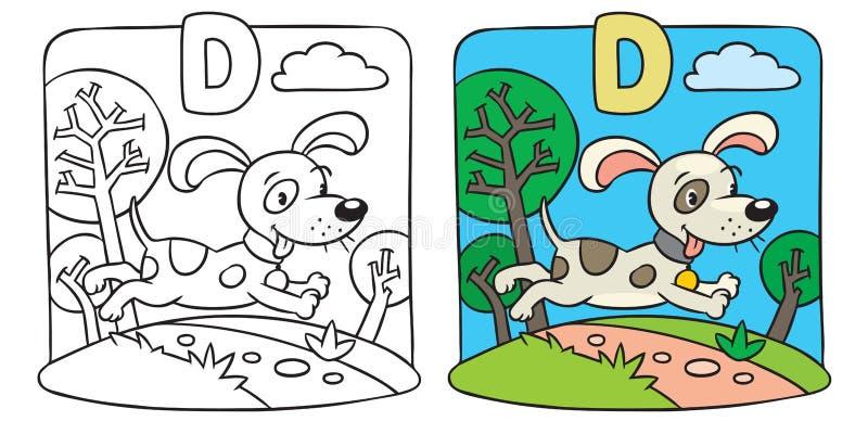 Libro da colorare di piccolo cane divertente Alfabeto D illustrazione di stock