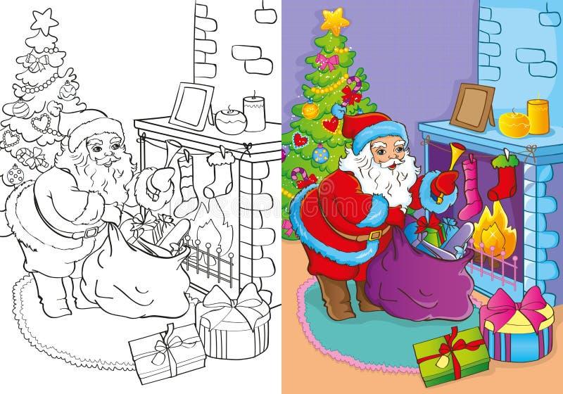 Libro da colorare di Santa Claus Gets Gifts illustrazione vettoriale