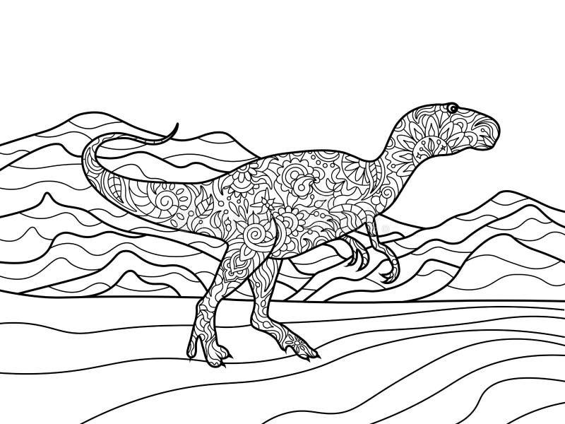 Pagine Da Colorare Per Adulti Libro Modello Astratto: Libro Da Colorare Di Tirannosauro Per Il Vettore Degli