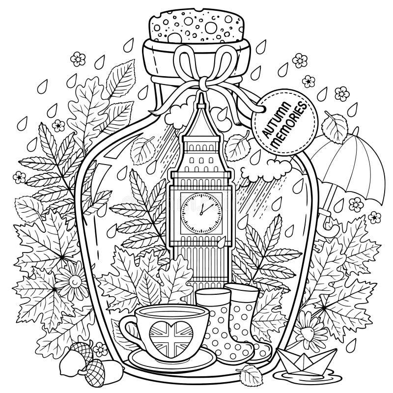 Libro da colorare di vettore per gli adulti Una nave di vetro con le memorie di autunno dei sogni circa un viaggio a Londra Una b royalty illustrazione gratis