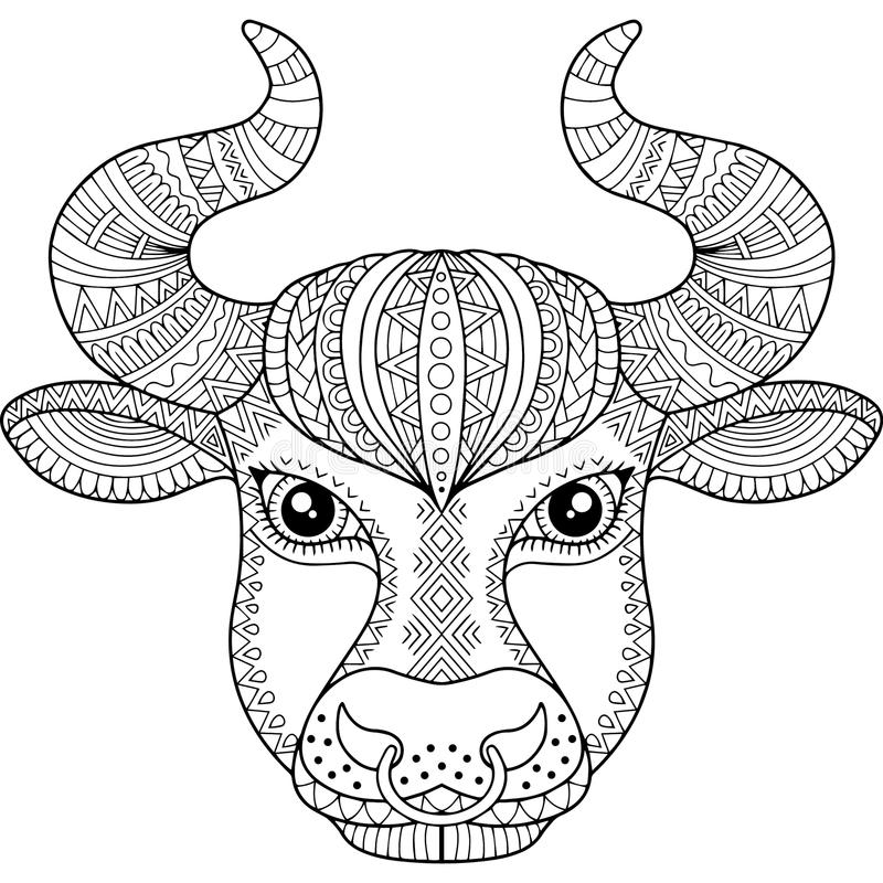 Libro da colorare di vettore per l'adulto Siluetta del toro isolata su fondo bianco Taurus del segno dello zodiaco PR astratto de illustrazione vettoriale