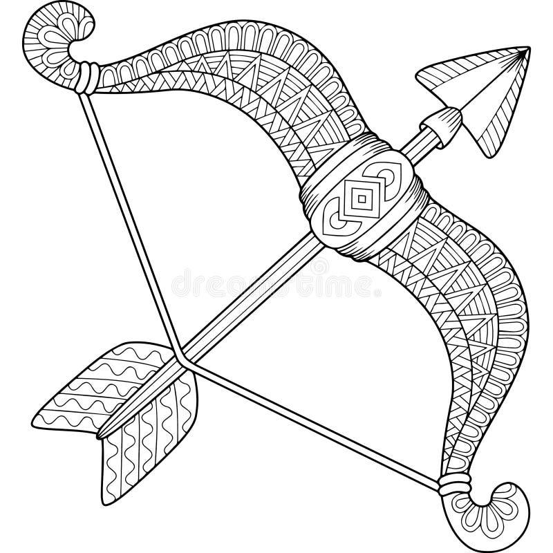 Libro da colorare di vettore per l'adulto Siluetta delle frecce e dell'arco isolati su fondo bianco Sagittario del segno dello zo illustrazione vettoriale