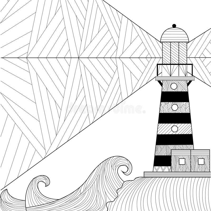 Libro da colorare di vista sul mare per l'adulto, anti vettore di coloritura di sforzo illustrazione vettoriale