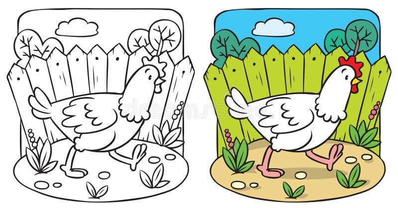 Libro da colorare divertente del pollo royalty illustrazione gratis