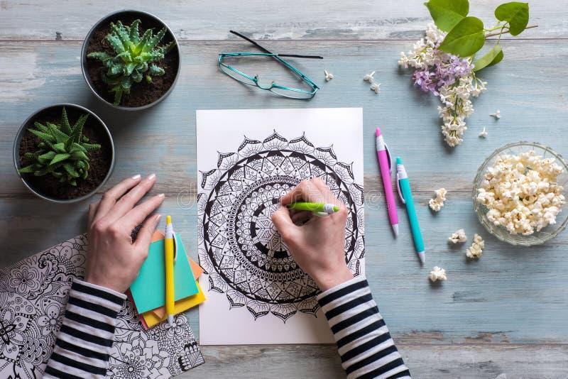 Libro da colorare femminile dell'adulto di coloritura immagini stock libere da diritti