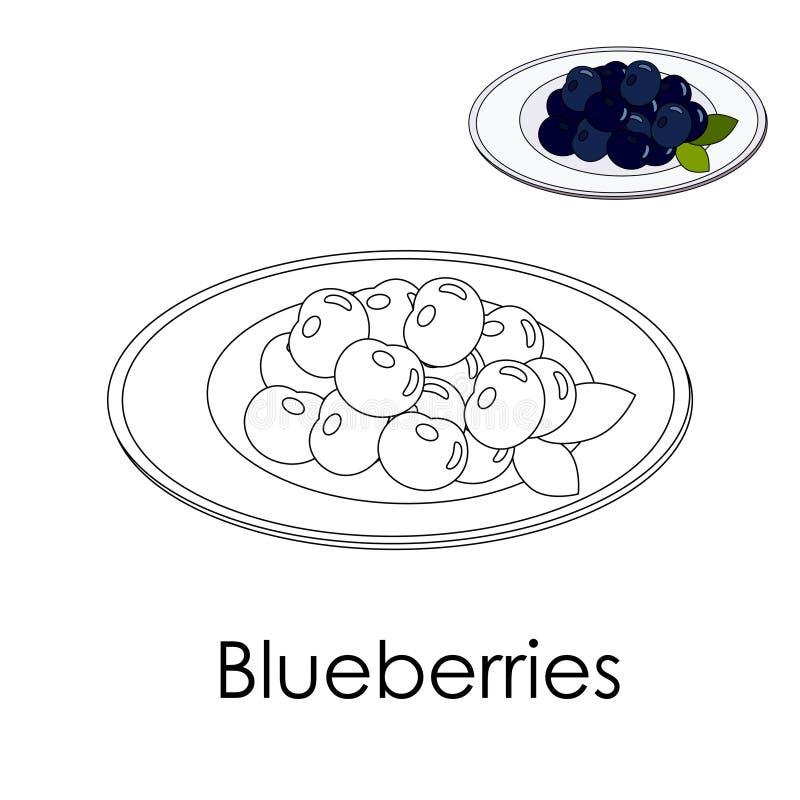 Libro da colorare Forest Blueberries su un piatto Bacche del campione del whith della pagina di colore con le foglie Stampa monoc illustrazione vettoriale