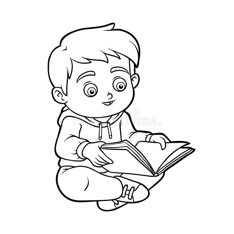 Libro da colorare, giovane ragazzo che legge un libro royalty illustrazione gratis