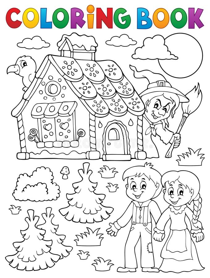 Libro da colorare Hansel e Gretel 1 illustrazione di stock