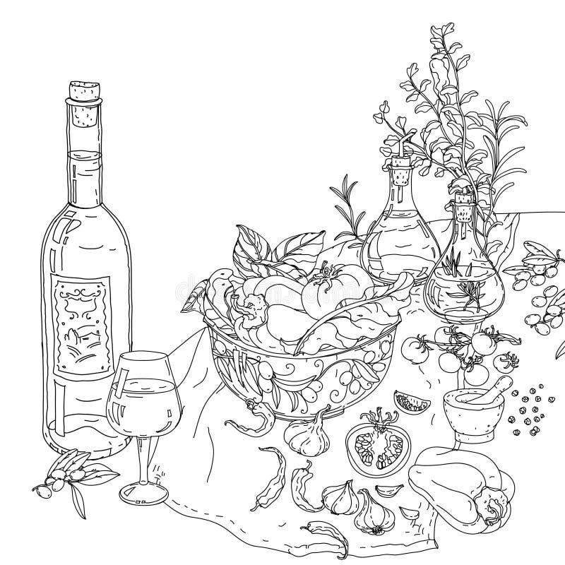 Libro Da Colorare Italiano Di Cucina Illustrazione Vettoriale ...