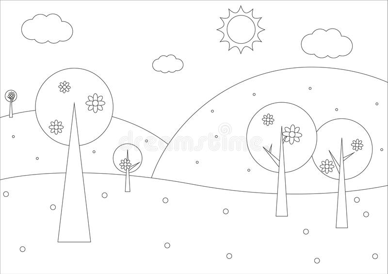 Libro da colorare - paesaggio geometrico della molla semplice royalty illustrazione gratis