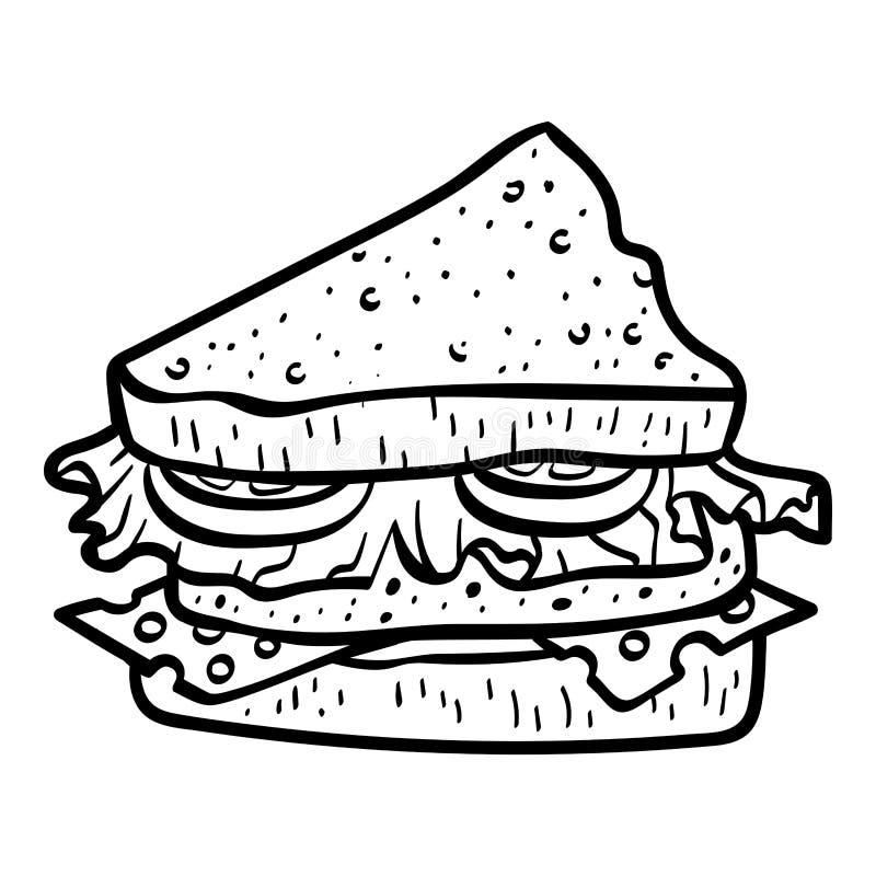 Libro da colorare, panino illustrazione di stock