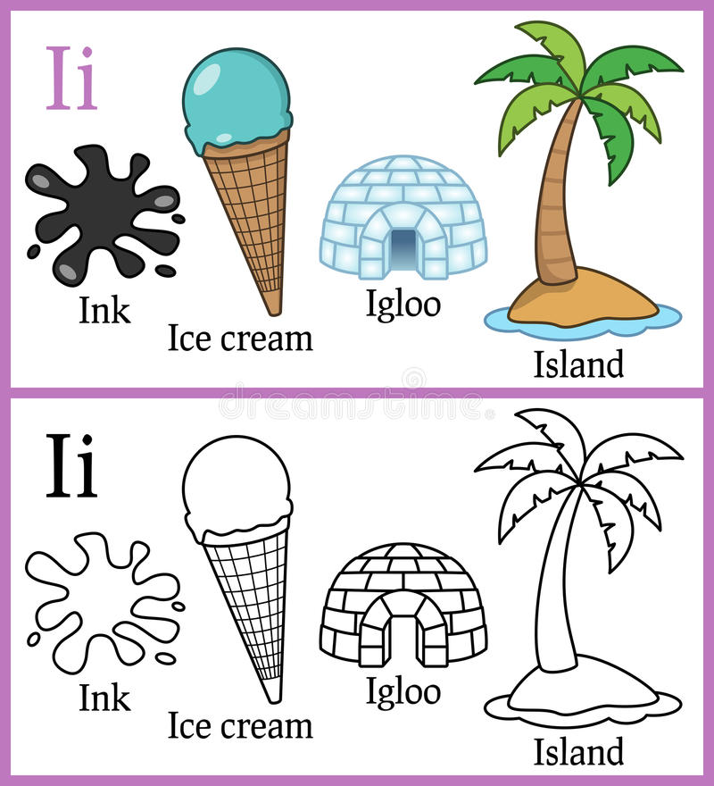 Libro da colorare per i bambini - alfabeto I illustrazione di stock