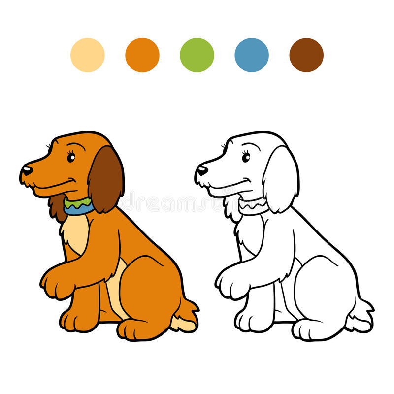 Libro da colorare per i bambini (cane dello spaniel) illustrazione di stock