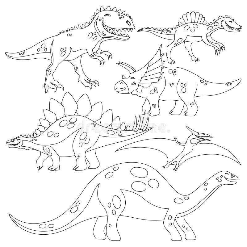 Libro da colorare per i bambini con un insieme dei dinosauri illustrazione di stock