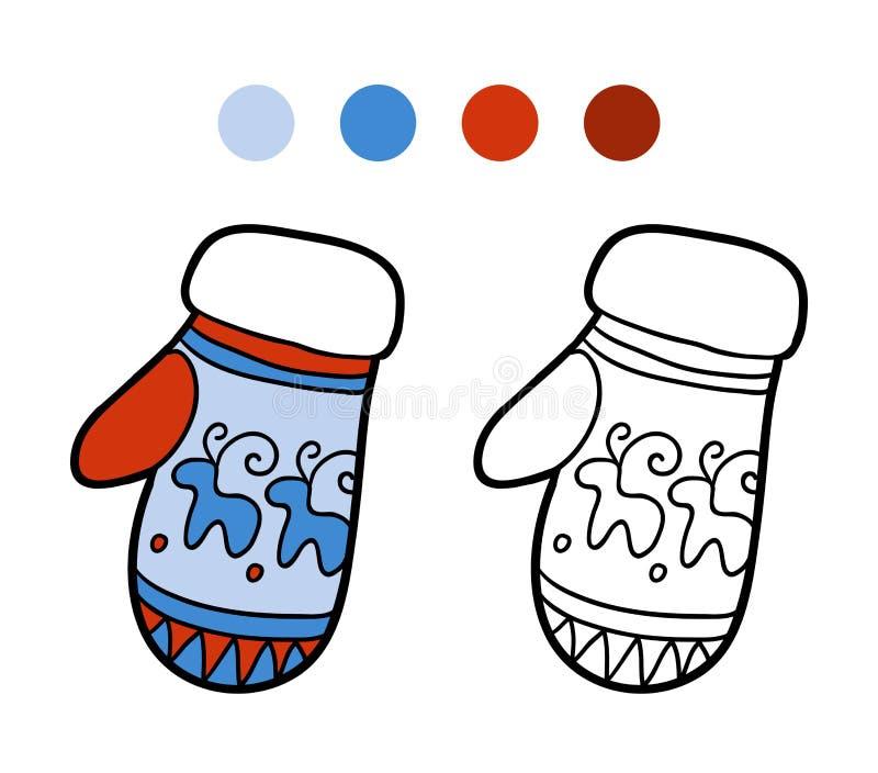 Libro da colorare per i bambini, guanto tricottato con il modello di inverno illustrazione di stock