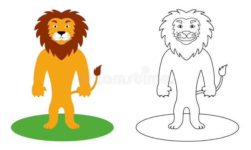 Libro da colorare per i bambini, leone, illustrazione di vettore illustrazione vettoriale