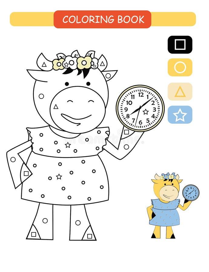 Libro da colorare per i bambini Mucca sveglia in bianco e nero del fumetto Illustrazione di vettore illustrazione vettoriale