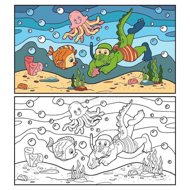 Libro da colorare per i bambini operatore subacqueo del for Coccodrillo da colorare