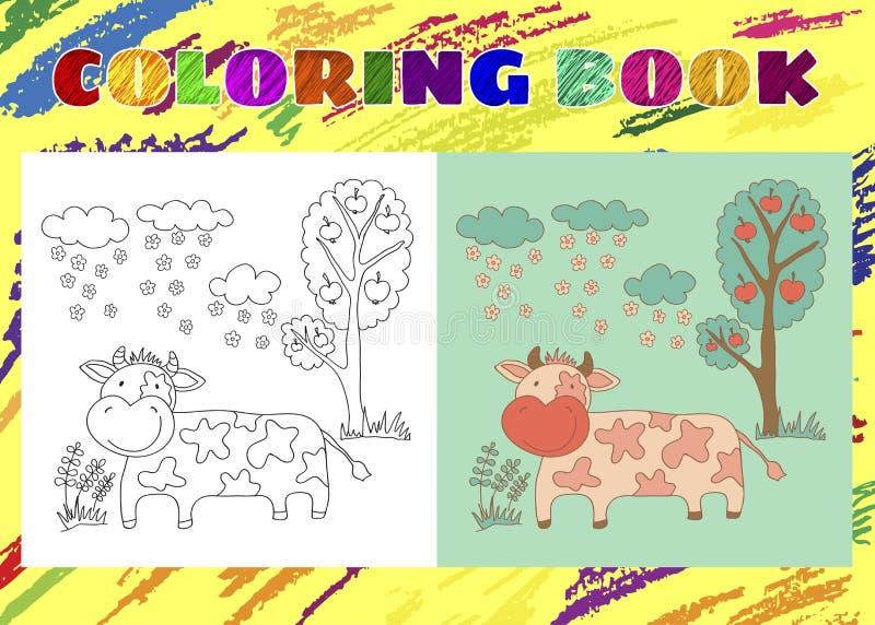 Libro da colorare per i bambini Piccola mucca rosa imprecisa nel giardino illustrazione di stock