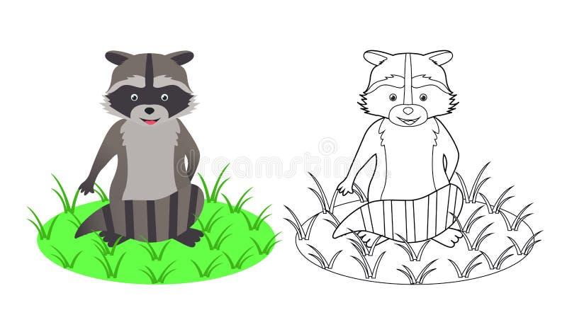Libro da colorare per i bambini, procione, illustrazione di vettore illustrazione di stock