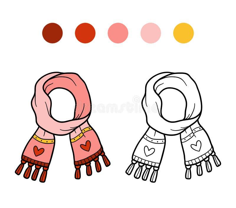 Libro da colorare per i bambini, sciarpa tricottata di inverno con cuore royalty illustrazione gratis