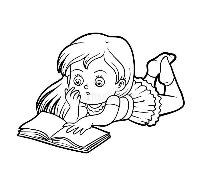 Libro da colorare, ragazza che legge un libro illustrazione vettoriale