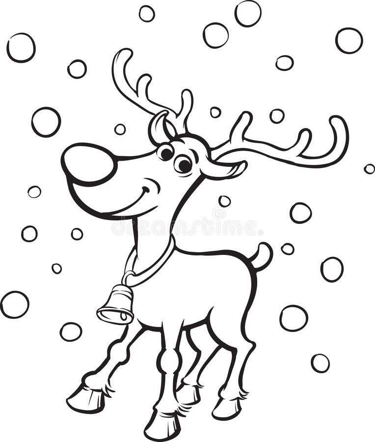 Libro Da Colorare Rudolph La Renna Col Naso Rosso Illustrazione Vettoriale Illustrazione Di Profilo Cappottato 87560126