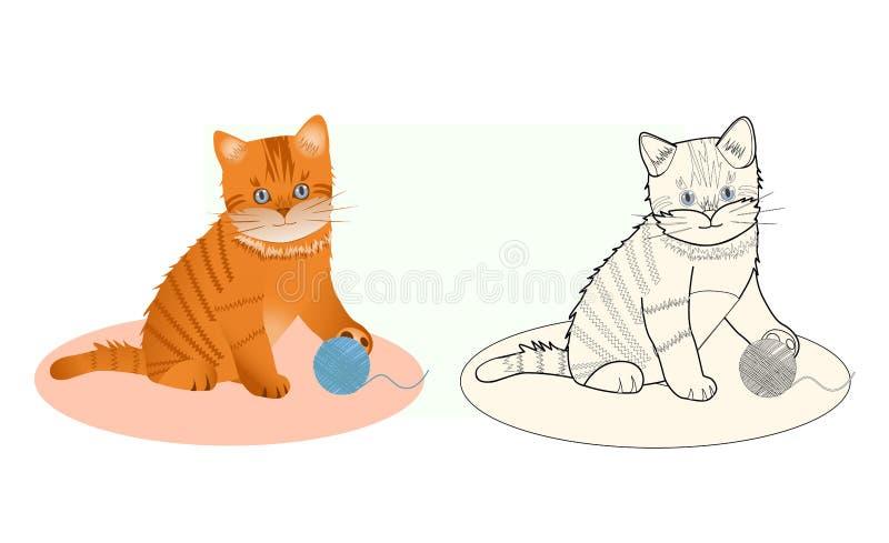 Libro da colorare un poco gattino illustrazione vettoriale