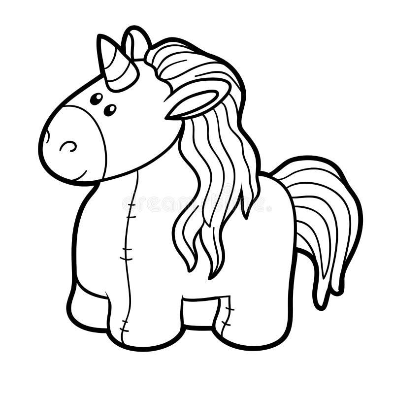 Libro da colorare, unicorno farcito del giocattolo illustrazione vettoriale