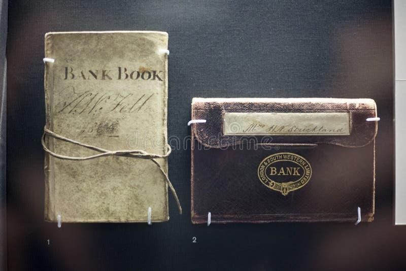 Libro de banco Londres y limitado occidental del sur en British Museum, Londres, Inglaterra, Reino Unido diciembre de 2017 fotos de archivo libres de regalías