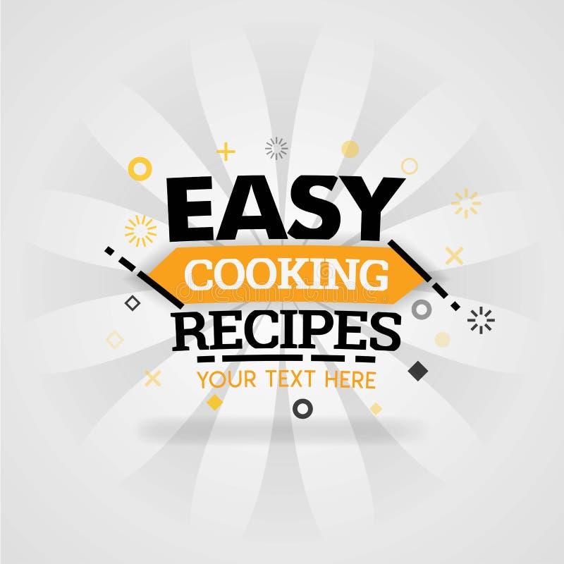 Libro de cocinar fácil de la cubierta de las recetas con diversas mejores recetas de la comida de la familia e ideas de la receta libre illustration