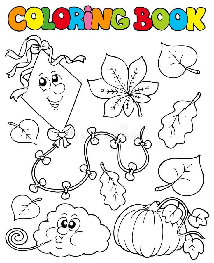 Libro de colorante con el tema 1 del otoño ilustración del vector
