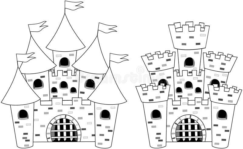 Libro de colorante de la historieta de Castels del castillo aislado stock de ilustración