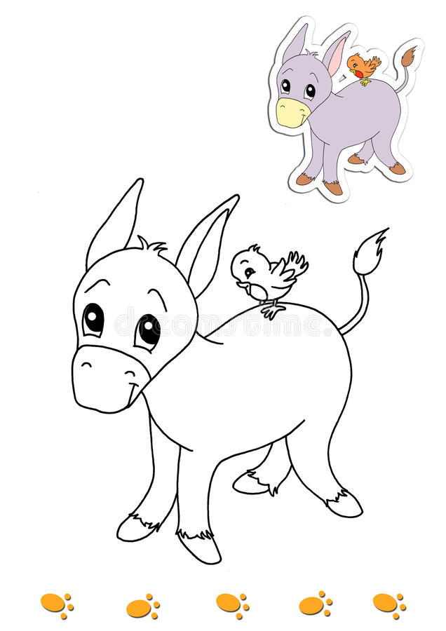 Libro de colorante de los animales 18 - burro stock de ilustración