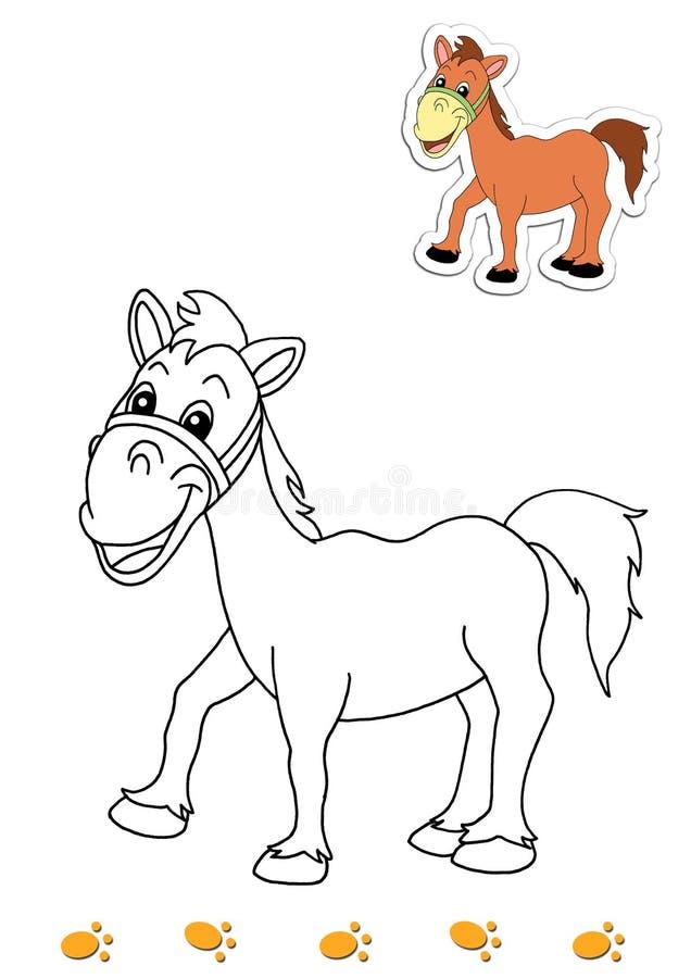 Libro de colorante de los animales 19 - caballo stock de ilustración