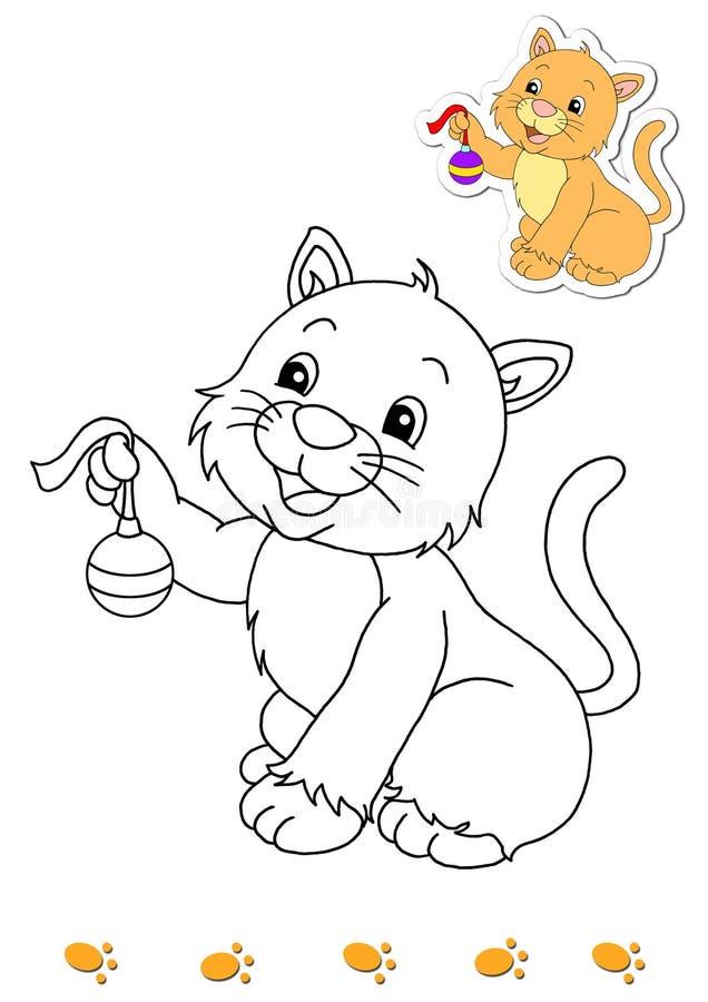 Libro de colorante de los animales 2 - gato stock de ilustración