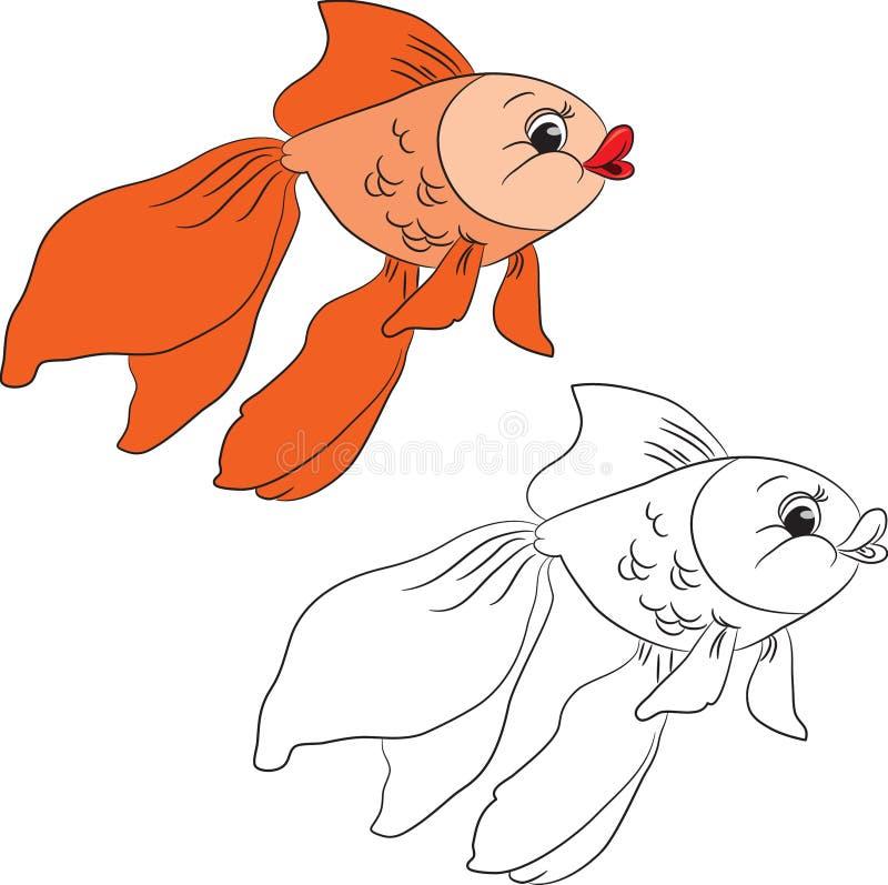 Libro de colorante Goldfish de la historieta ilustración del vector