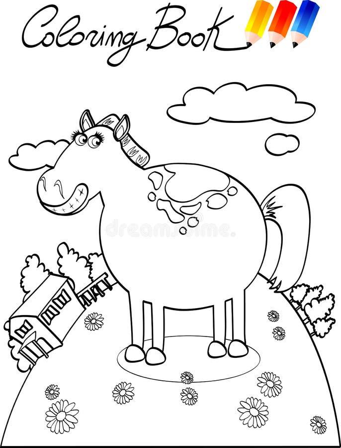 Libro de colorante, granja del caballo stock de ilustración
