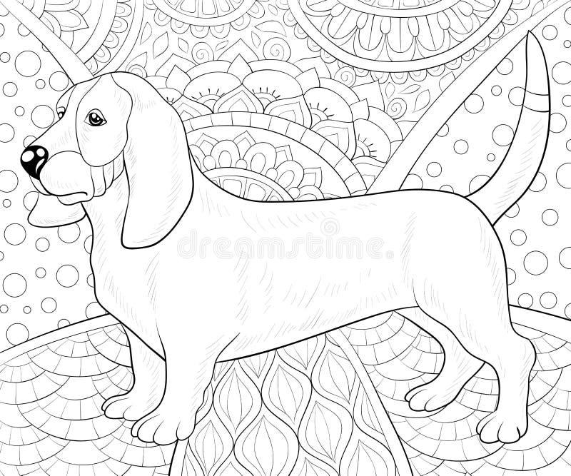 Libro de colorear adulto, página un perro lindo en el fondo abstracto con la imagen de los ornamentos para relajarse Ejemplo del  ilustración del vector