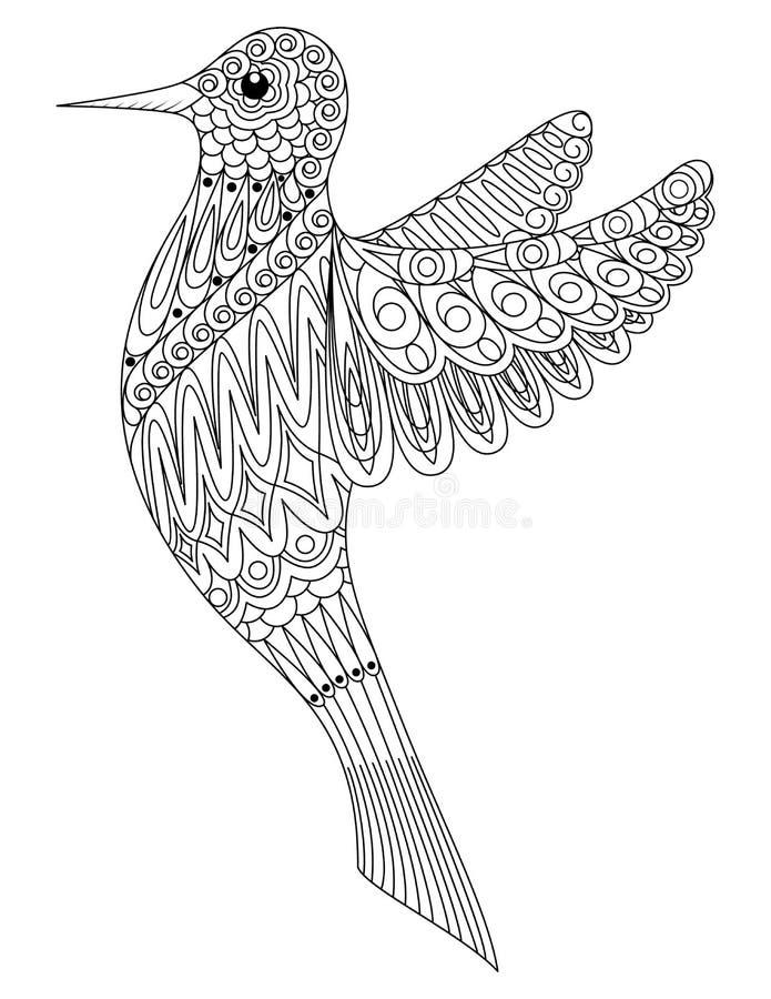 Libro De Colorear Adulto Un Pájaro Ilustración del Vector ...