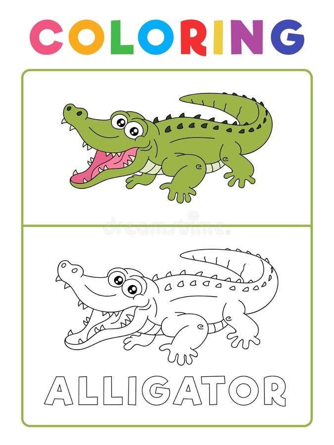 Libro de colorear animal del cocodrilo divertido del cocodrilo con ejemplo Hoja de trabajo preescolar para practicar habilidad fi stock de ilustración