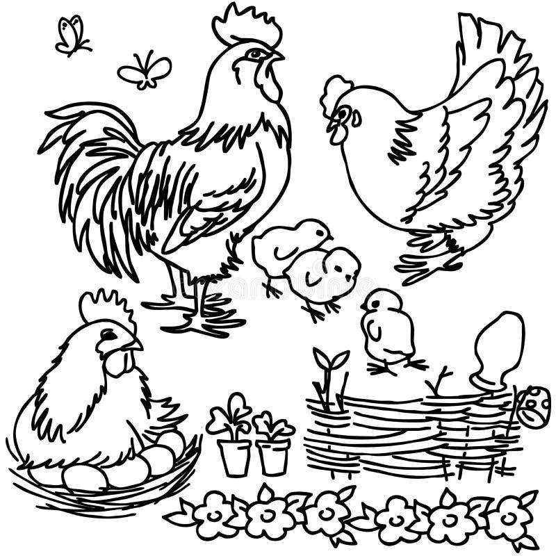 Libro de colorear, animales del campo de la historieta libre illustration