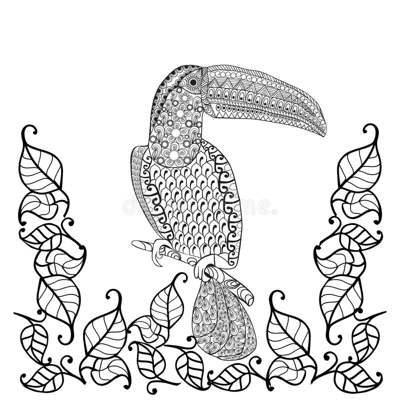 Libro De Colorear Antiesfuerzo Del Pájaro Del Tucán Para Los Adultos ...