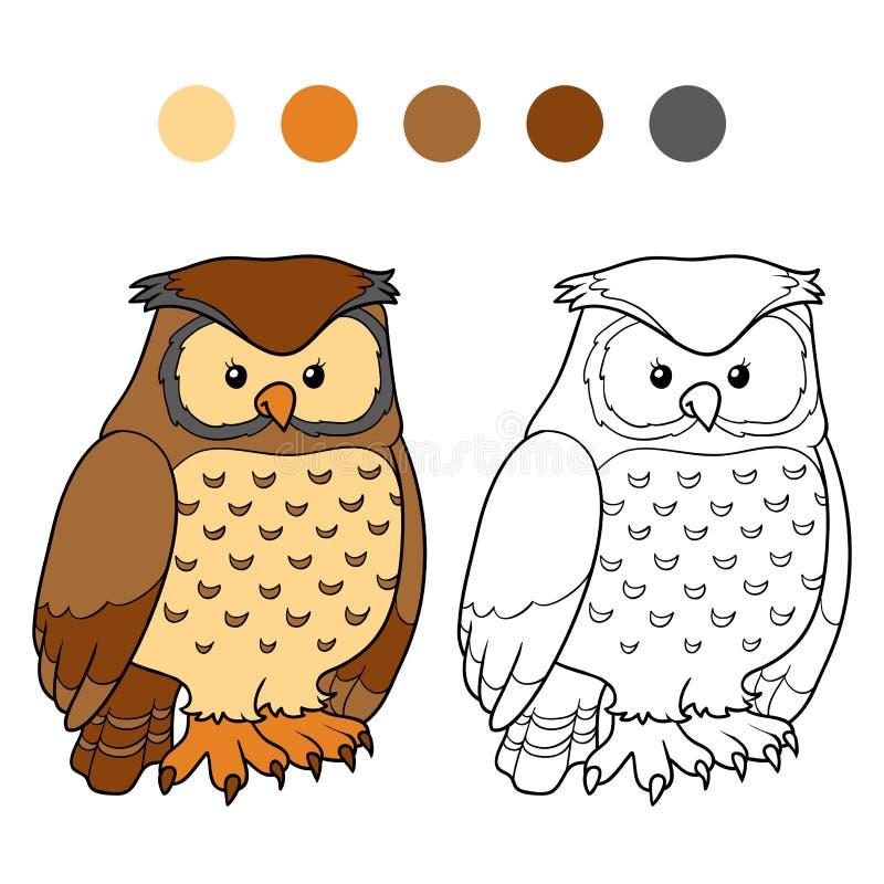 Libro de colorear (búho) ilustración del vector. Ilustración de ...