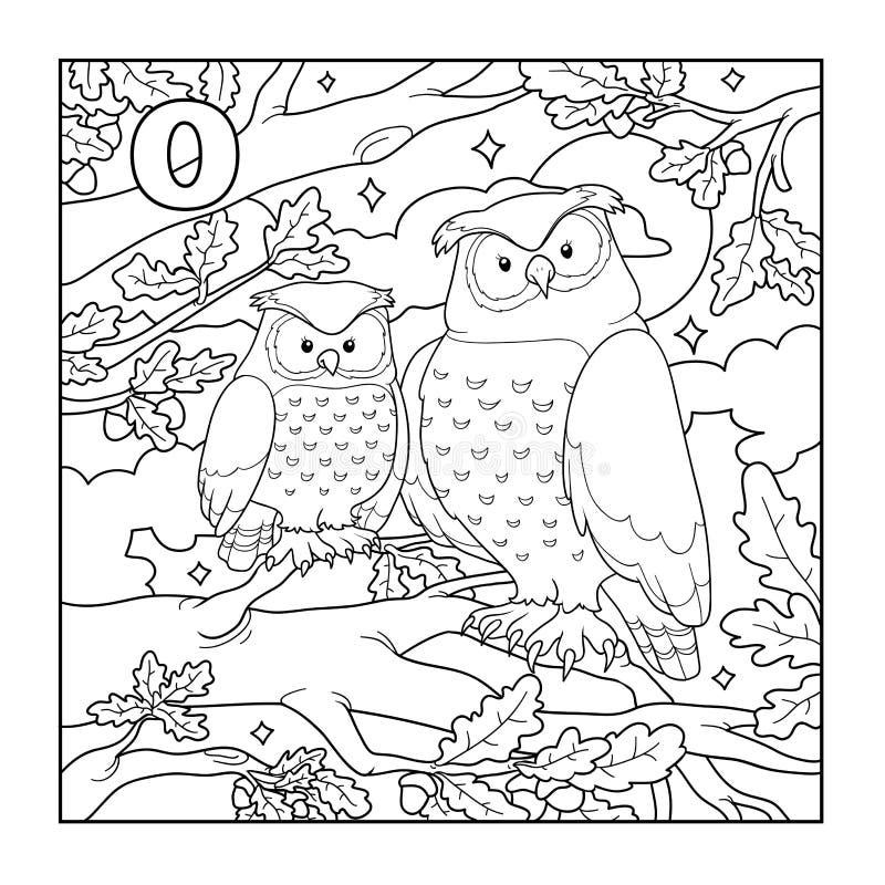 Libro de colorear (búho), ejemplo descolorido (letra O) stock de ilustración