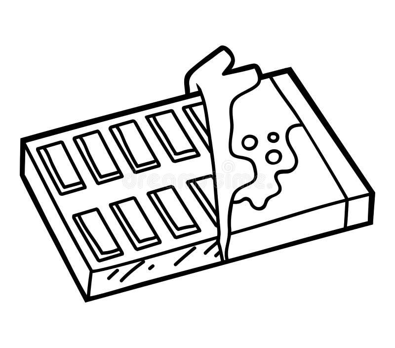 Libro de colorear, barra de chocolate stock de ilustración