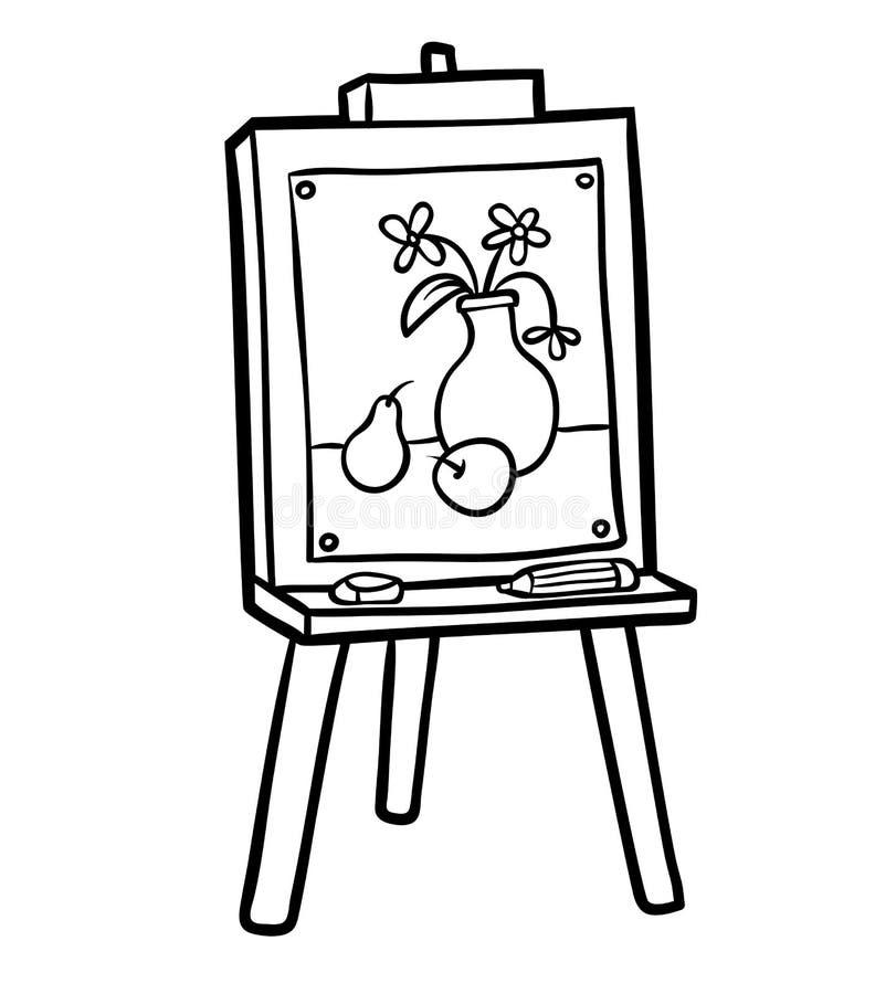 Libro de colorear, caballete ilustración del vector