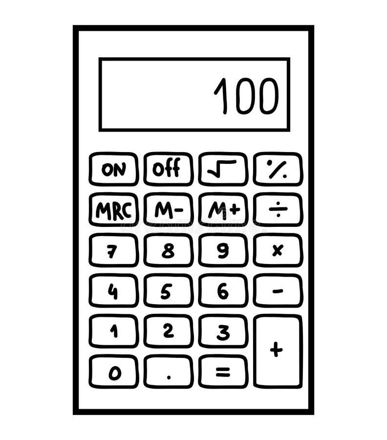 Libro de colorear, calculadora ilustración del vector