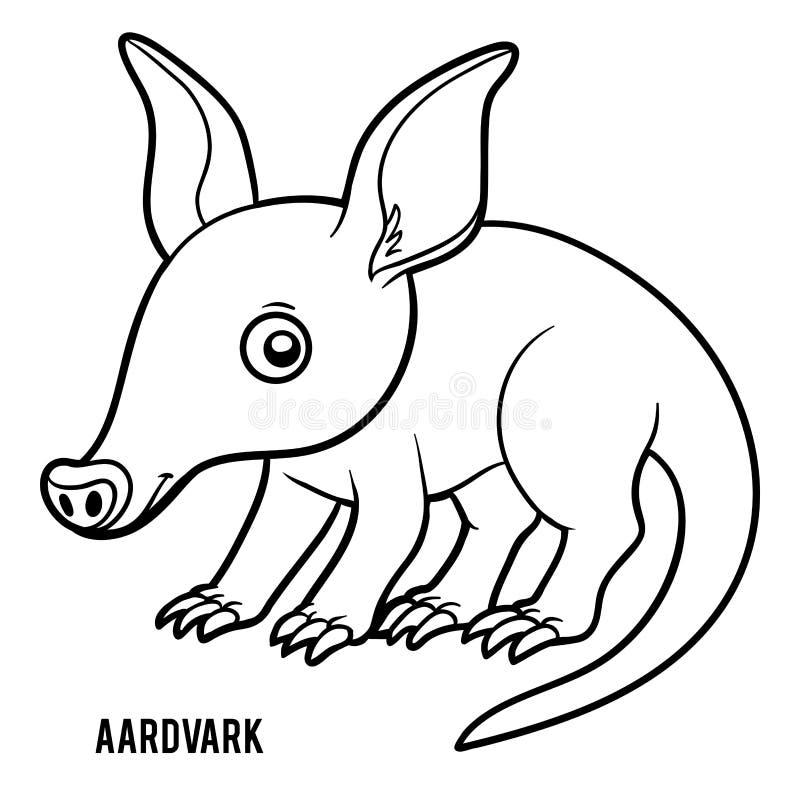 Libro de colorear, cerdo hormiguero ilustración del vector