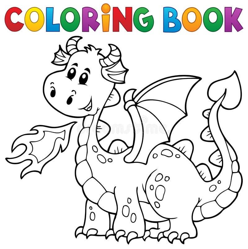 Libro de colorear con el dragón feliz stock de ilustración